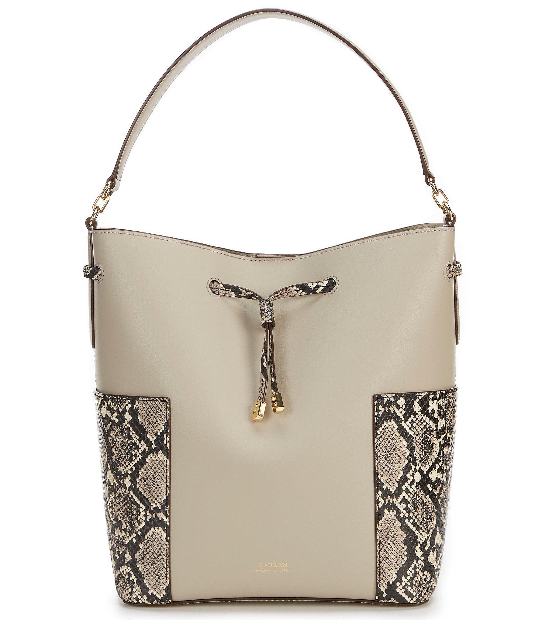 Lyst - Lauren by Ralph Lauren Dryden Bucket Bag (black natural ... e49959083f033