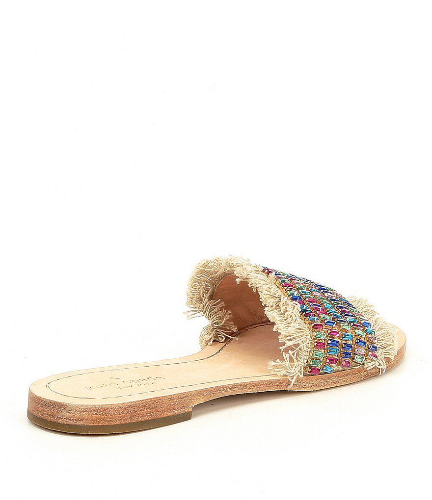 Solaina Jeweled Raffia Slide Sandals ghHaL5xPR