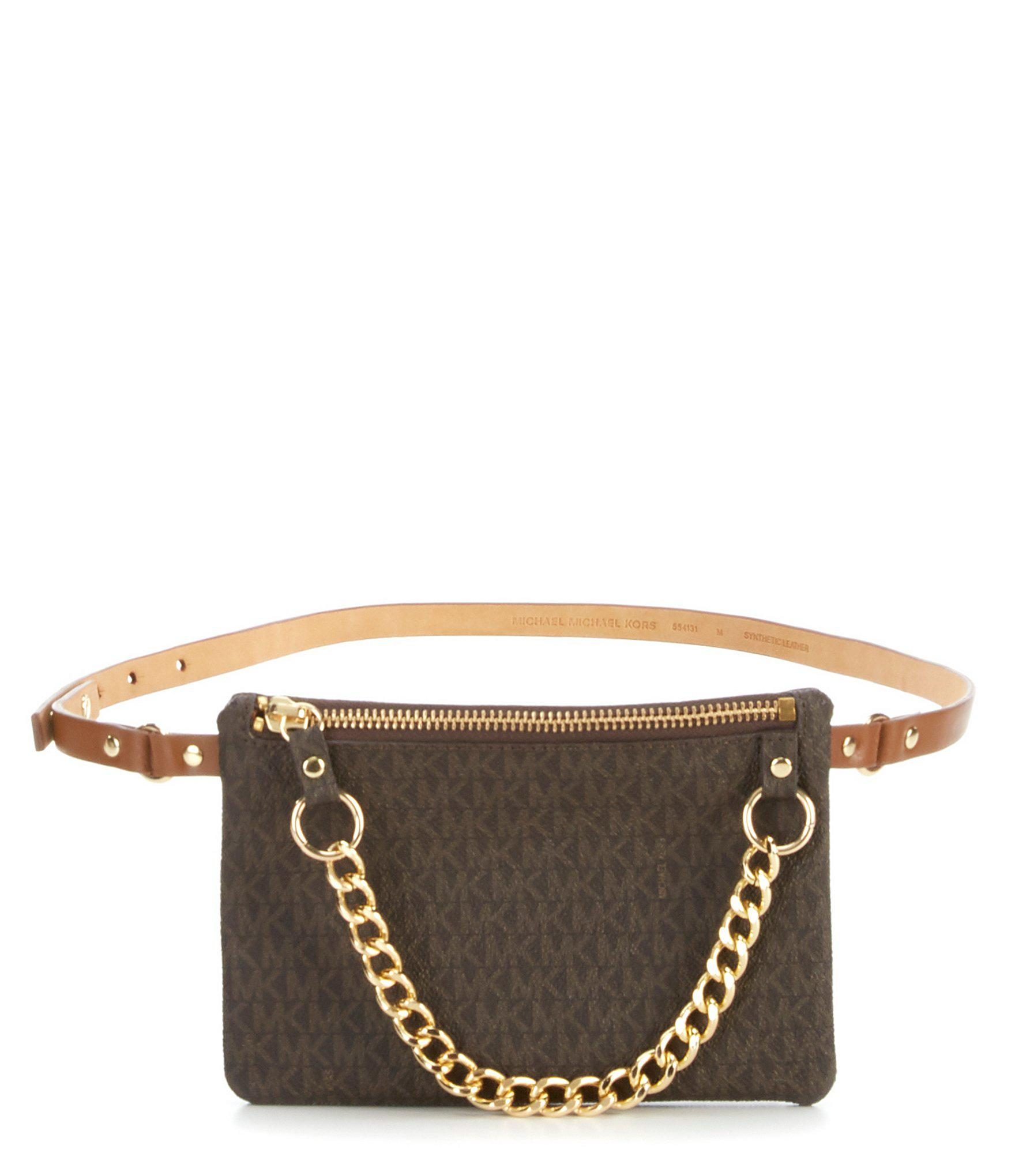 9009daa076fe2 Michael Kors - Brown Belt Bag With Pull Chain - Lyst. View fullscreen