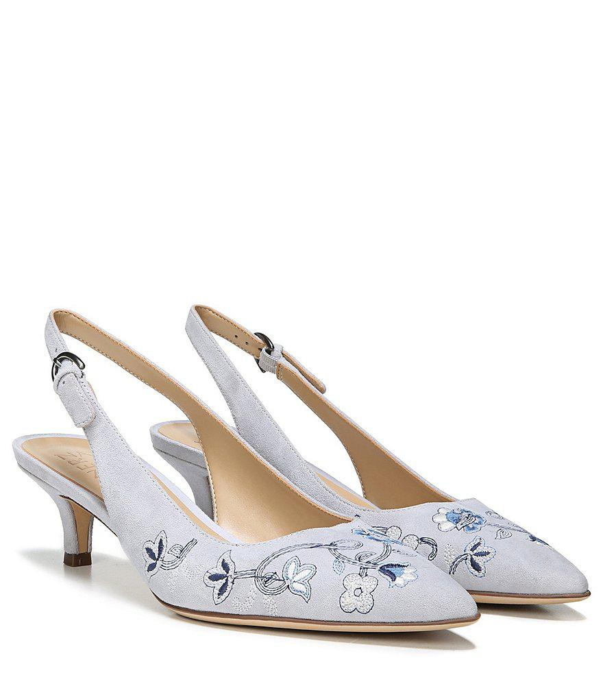 Peyton 2 Suede Floral Embroidered Slingback Pumps 5obST8NOIu