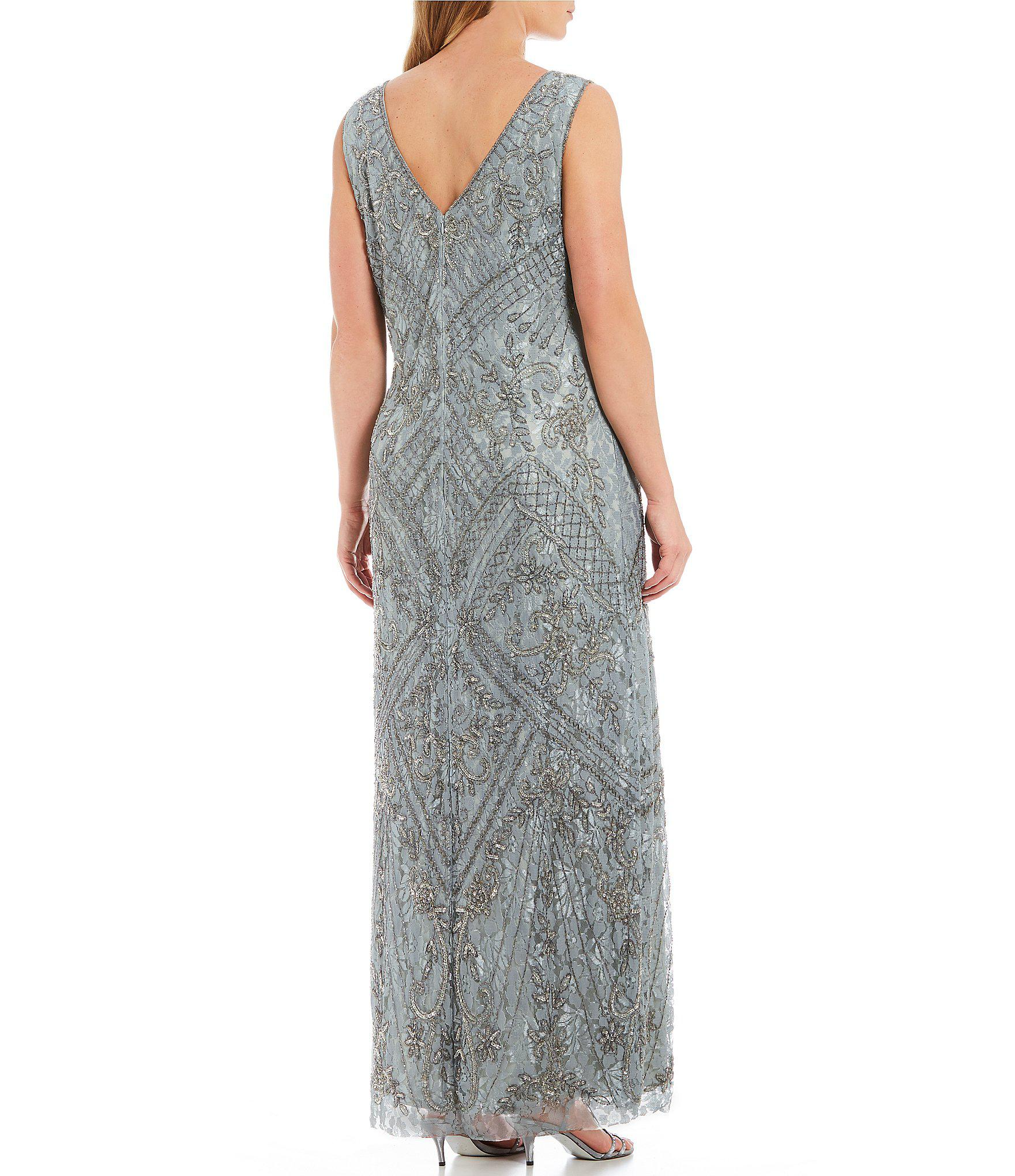 09ad52c8843 Pisarro Nights - Metallic Plus Size Sleeveless Beaded Lace Gown - Lyst.  View fullscreen