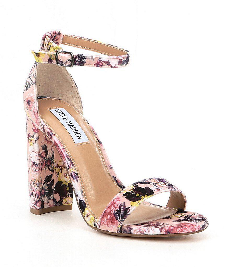 03deb4ad61b9b Lyst - Steve Madden Carrson Floral Velvet Ankle Strap Block Heel ...