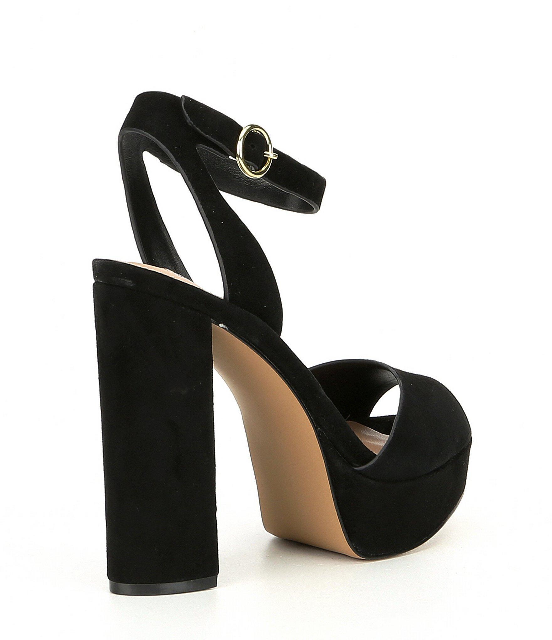 339990112672 Steve Madden - Black Madeline Suede Block Heel Platform Sandals - Lyst.  View fullscreen