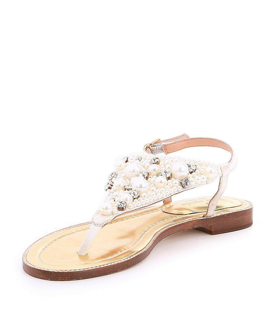 Sama Satin Pearl and Jewel Embellishment Ankle Strap Thong Sandals 5dBKA7PPL