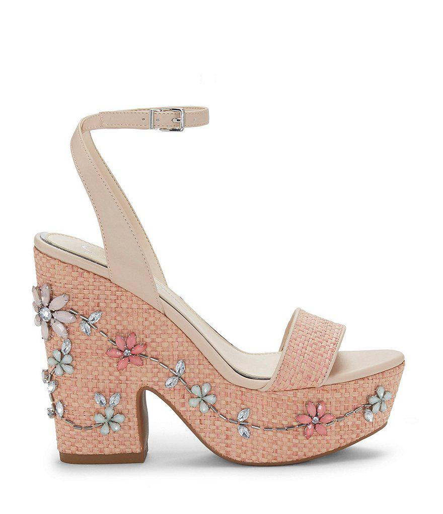 Cressia Raffia Rhinestone Flowers Ornament Sandals