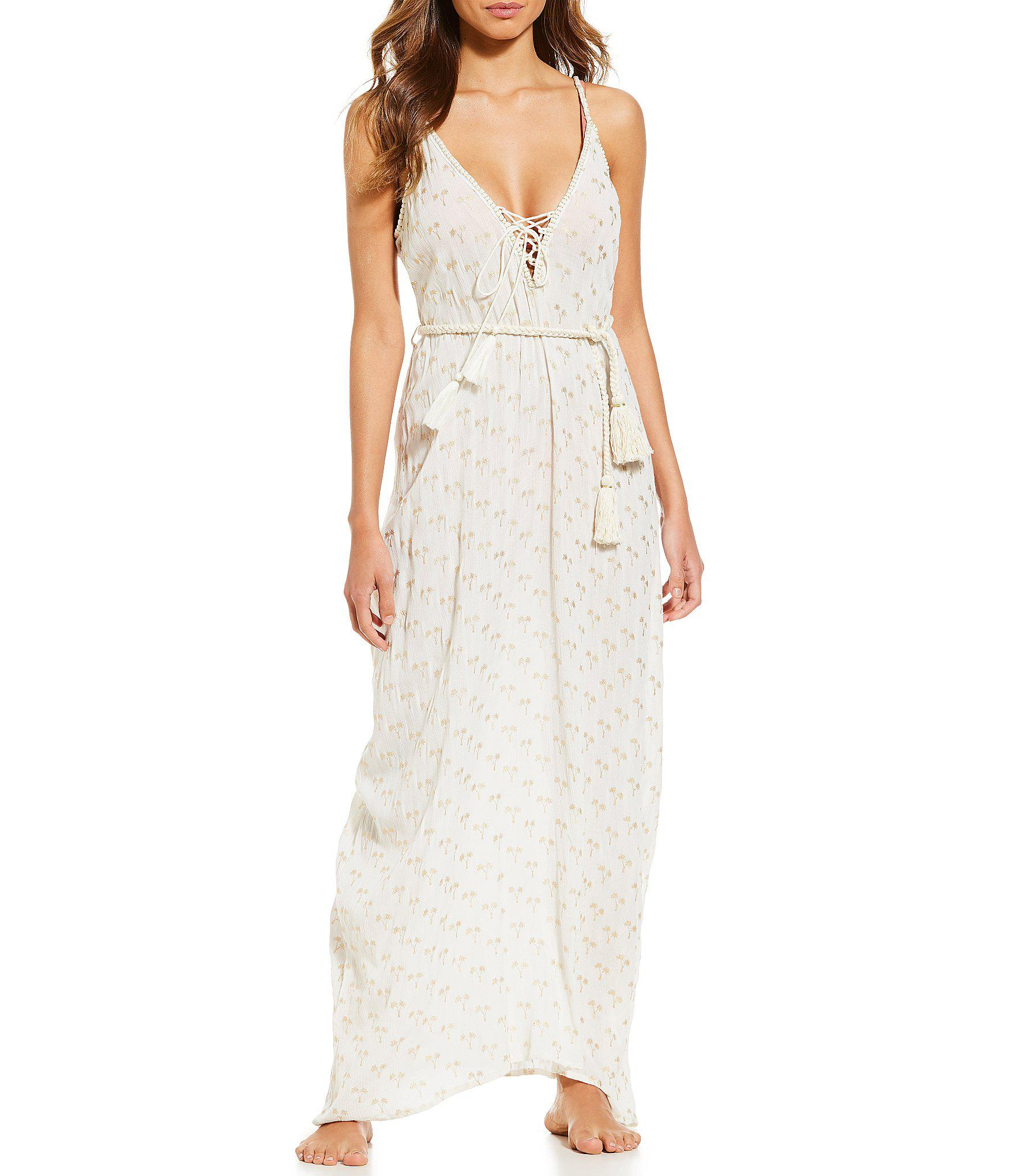 ca91c60e430 Lyst - Gianni Bini Embroidered Maxi Dress Cover-up in White