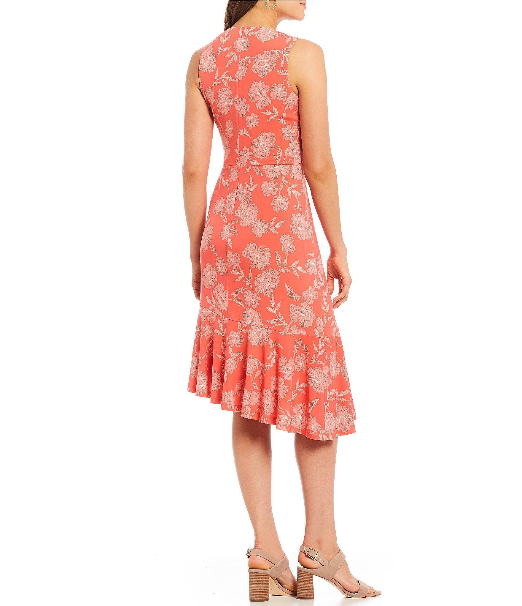 7c384871 Lyst - Ivanka Trump Floral Print Matte Jersey Asymmetrical Flounce ...