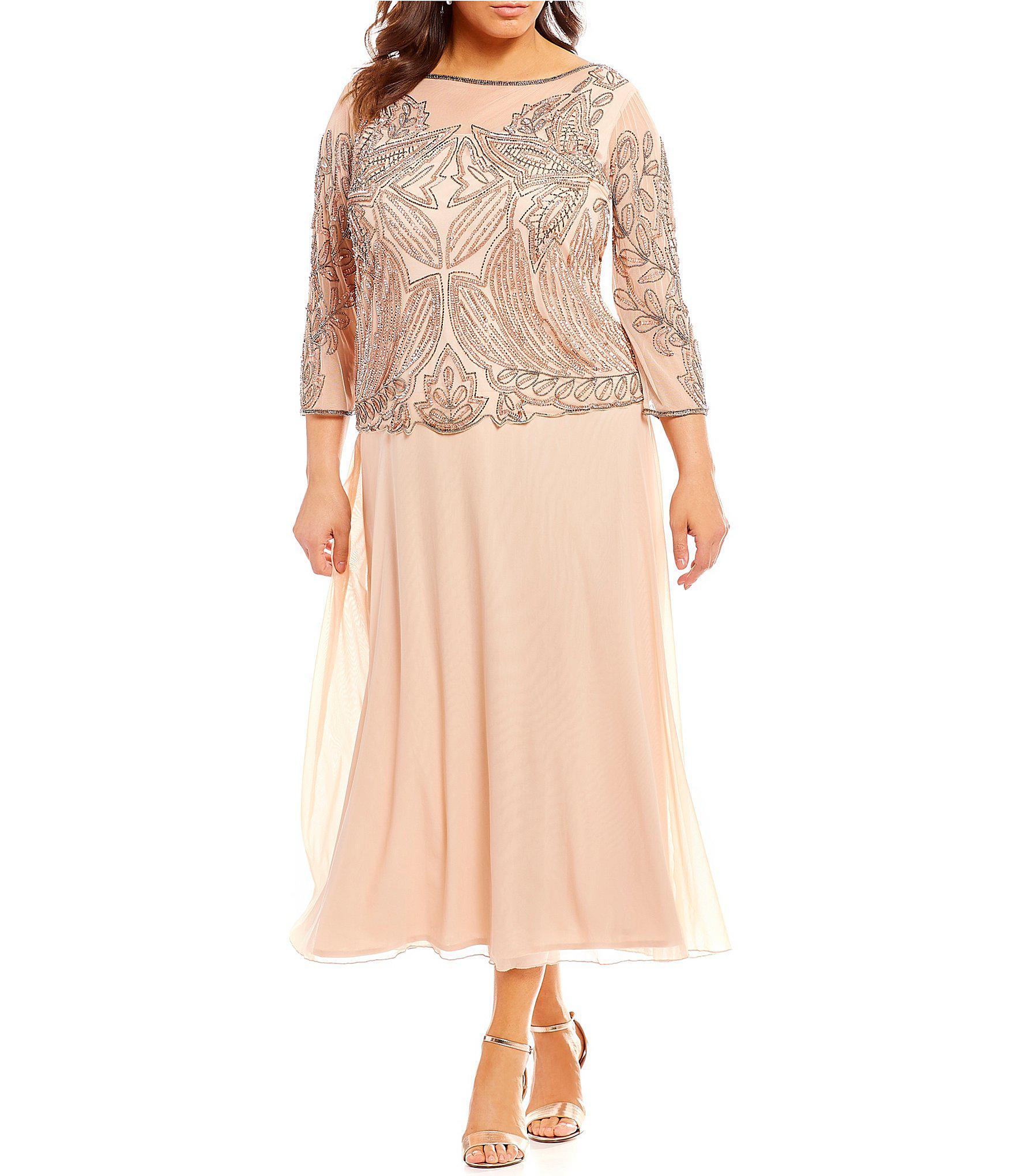 08faafa635513 Lyst - Pisarro Nights Plus Floral Beaded Bodice Mock 2-piece Dress