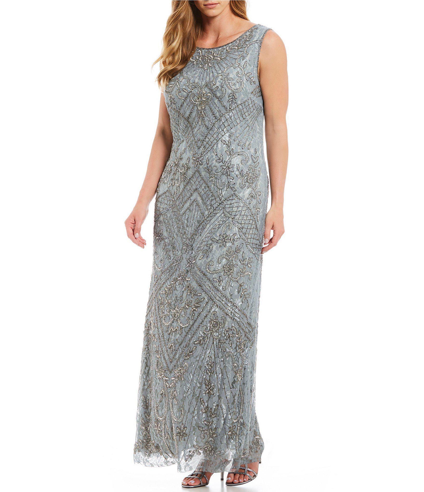 a9c6745f5b7 Lyst - Pisarro Nights Plus Size Sleeveless Beaded Lace Gown in Metallic
