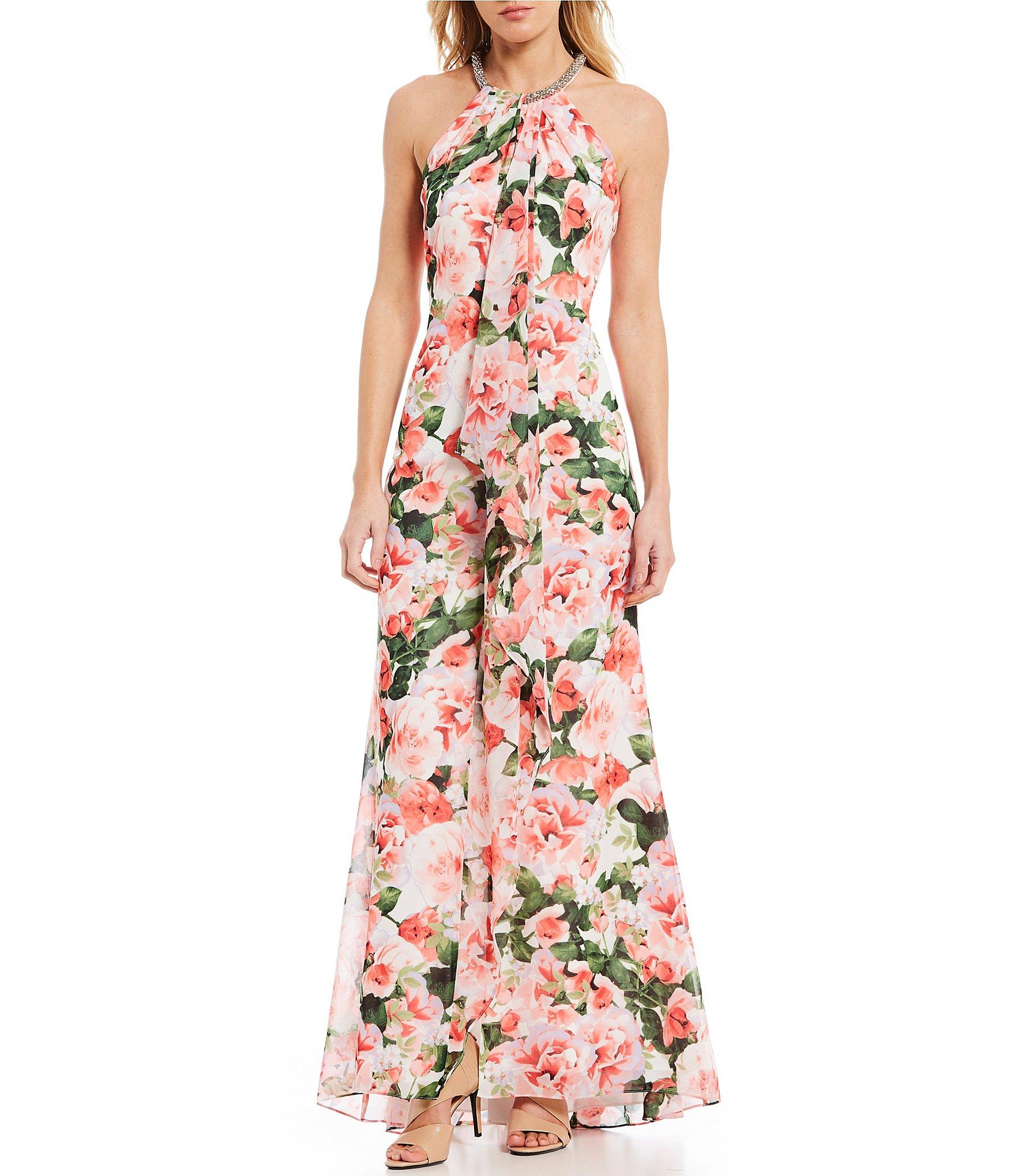 f3eff7002ab Calvin Klein Halter Necklace Floral Print Ruffle Front Gown - Lyst