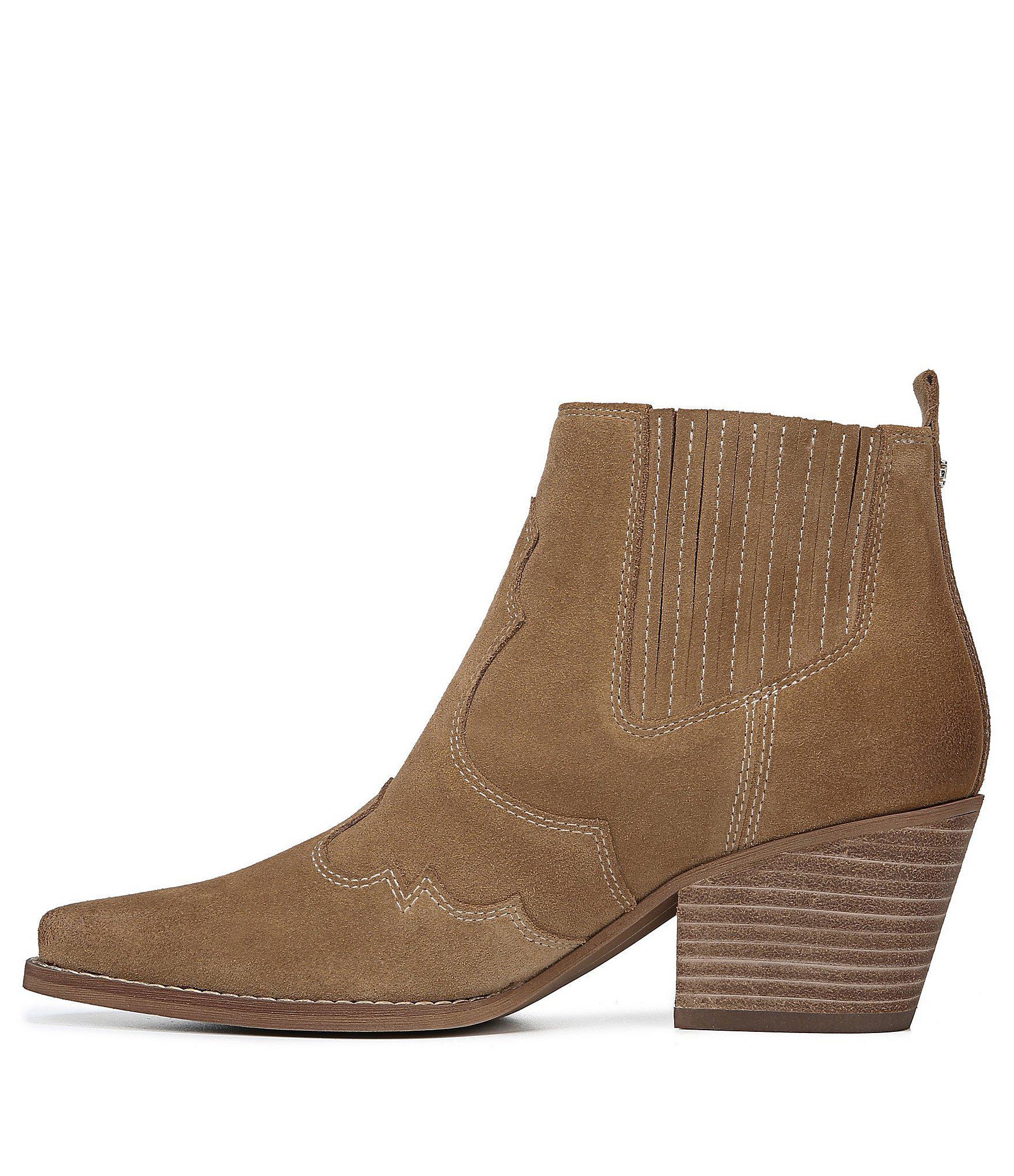 c18112eec Sam Edelman - Brown Winona Suede Western Block Heel Booties - Lyst. View  fullscreen