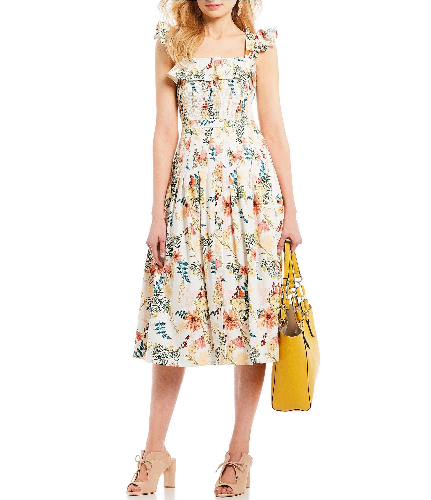 f4982f5b4a3 Antonio Melani. Women s Lila Floral Print Smocked Ruffle Bodice A-line Midi  Dress