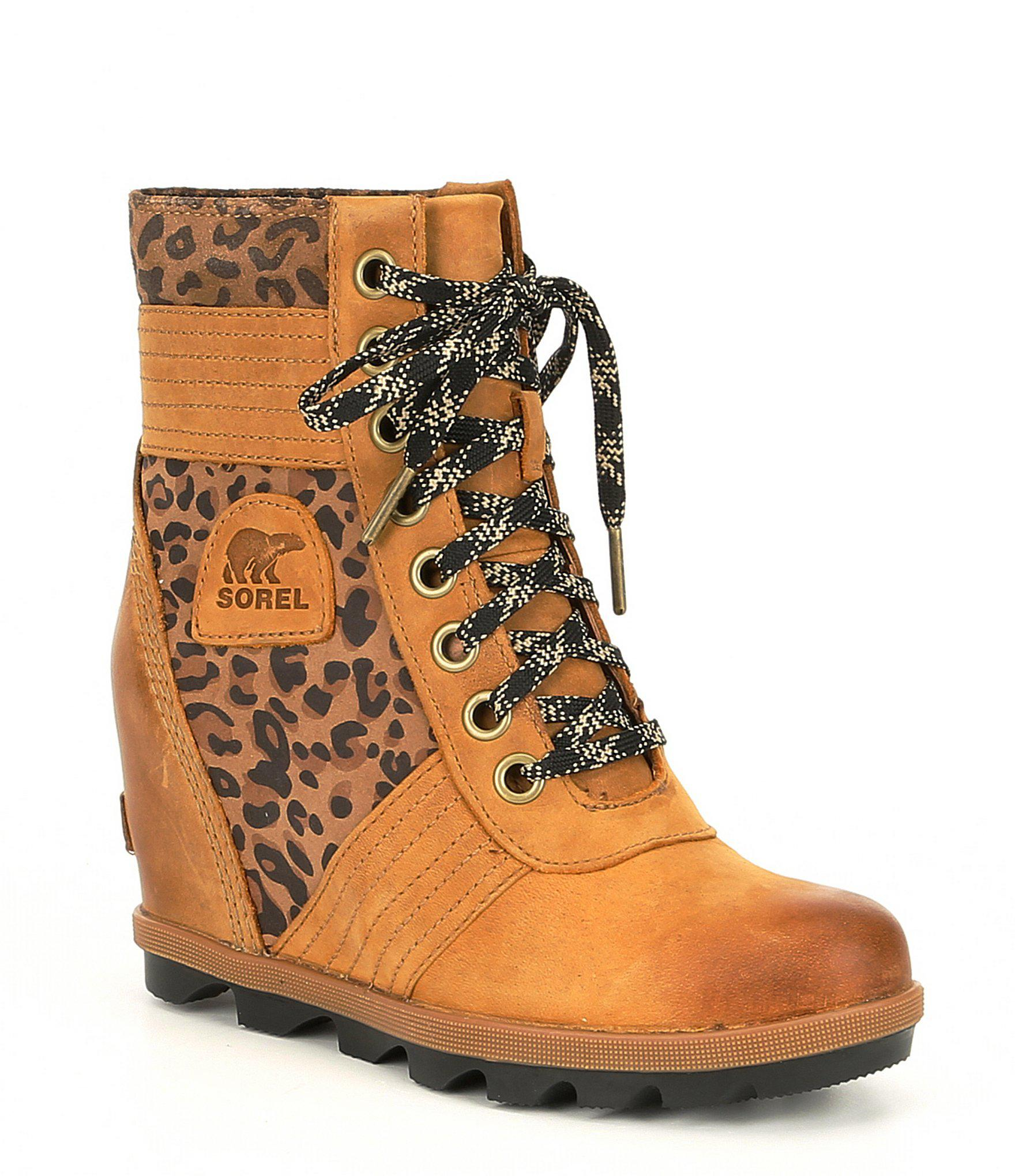 e1615d3be292 Lyst - Sorel Lexie Leather Leopard Wedge in Brown