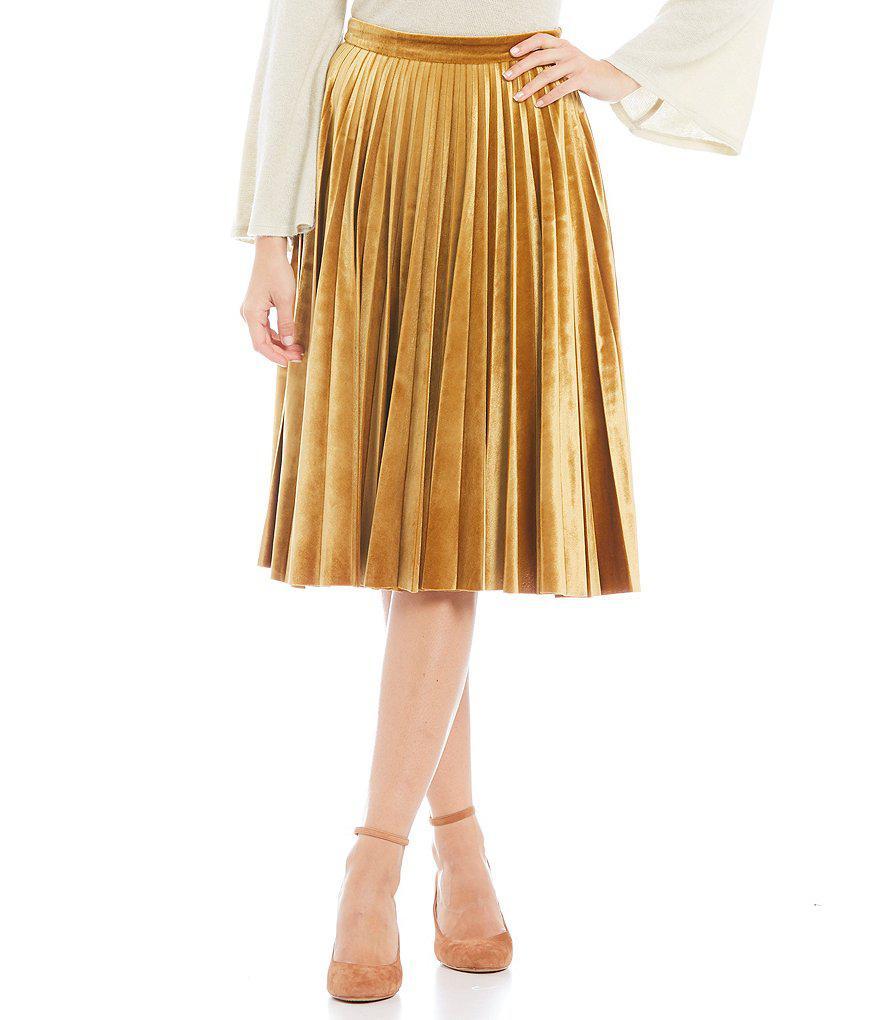 78ac88d3e3 Gianni Bini Jaclyn Pleated Velvet Midi Skirt - Lyst