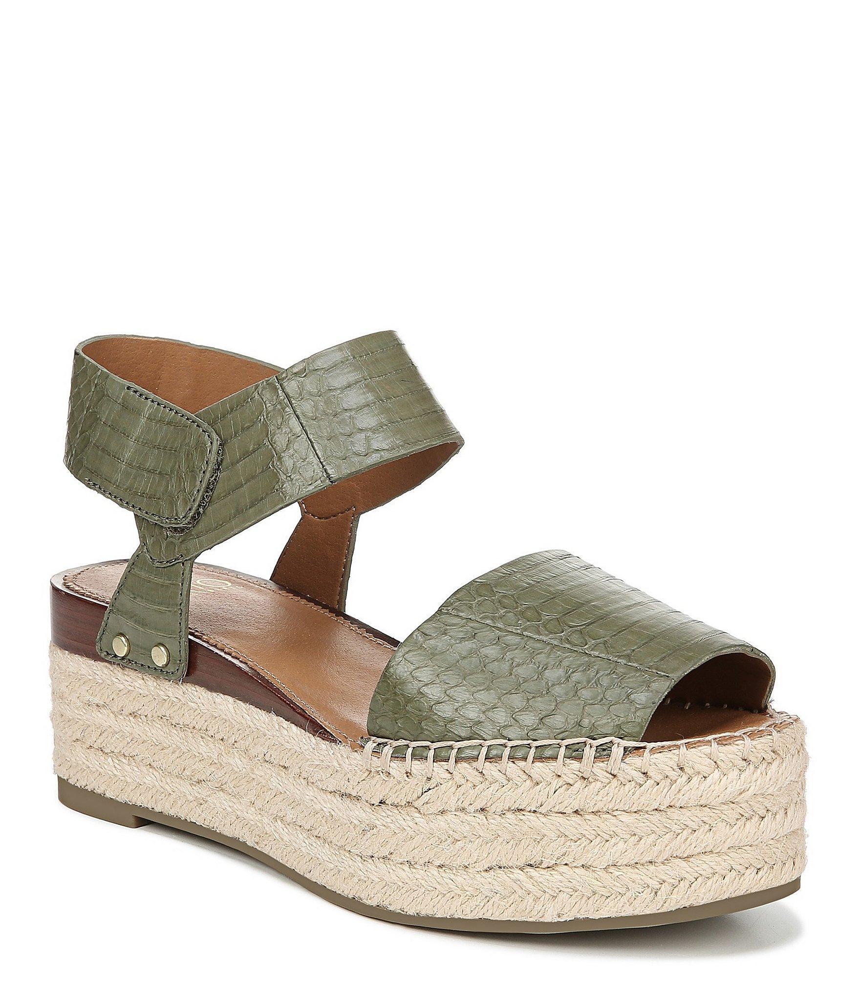 7093c503b5 Franco Sarto. Women's Green Sarto By Leo2 Espadrille Snake Print Leather Flatform  Sandals