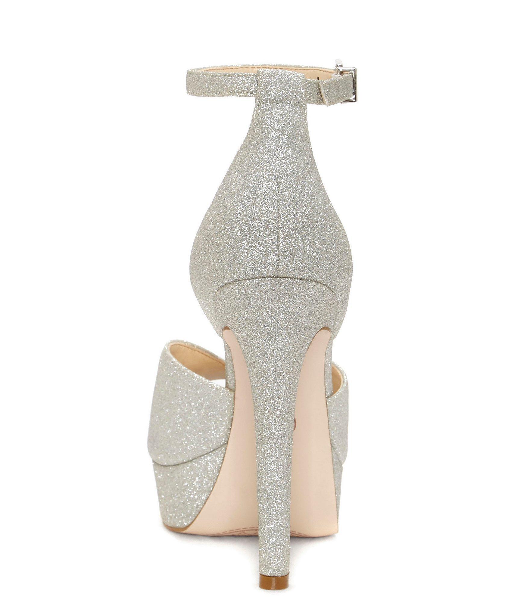 35323cb37df Jessica Simpson - Metallic Briya Micro Glitter Peep Toe Platform With Ankle  Strap Pumps - Lyst. View fullscreen
