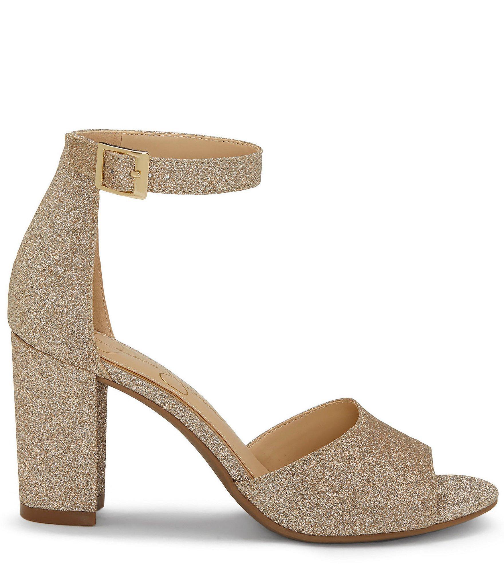 9acc261e13a Jessica Simpson - Metallic Sherron Ankle Strap Block Heel Sandals - Lyst.  View fullscreen