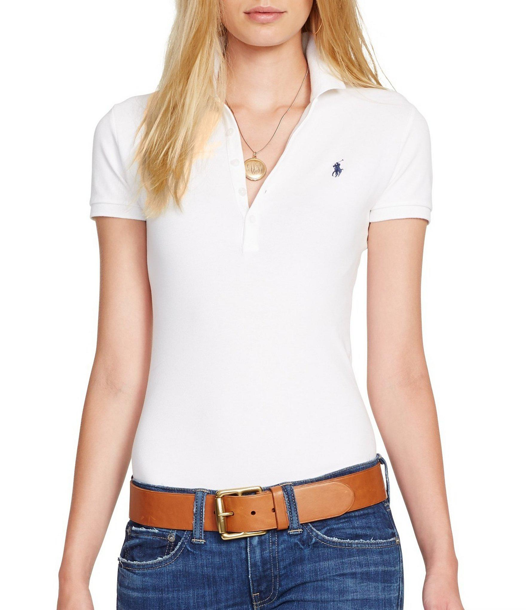 6081ca992 Polo Ralph Lauren Julie Skinny-fit Stretch Polo Shirt in White - Lyst