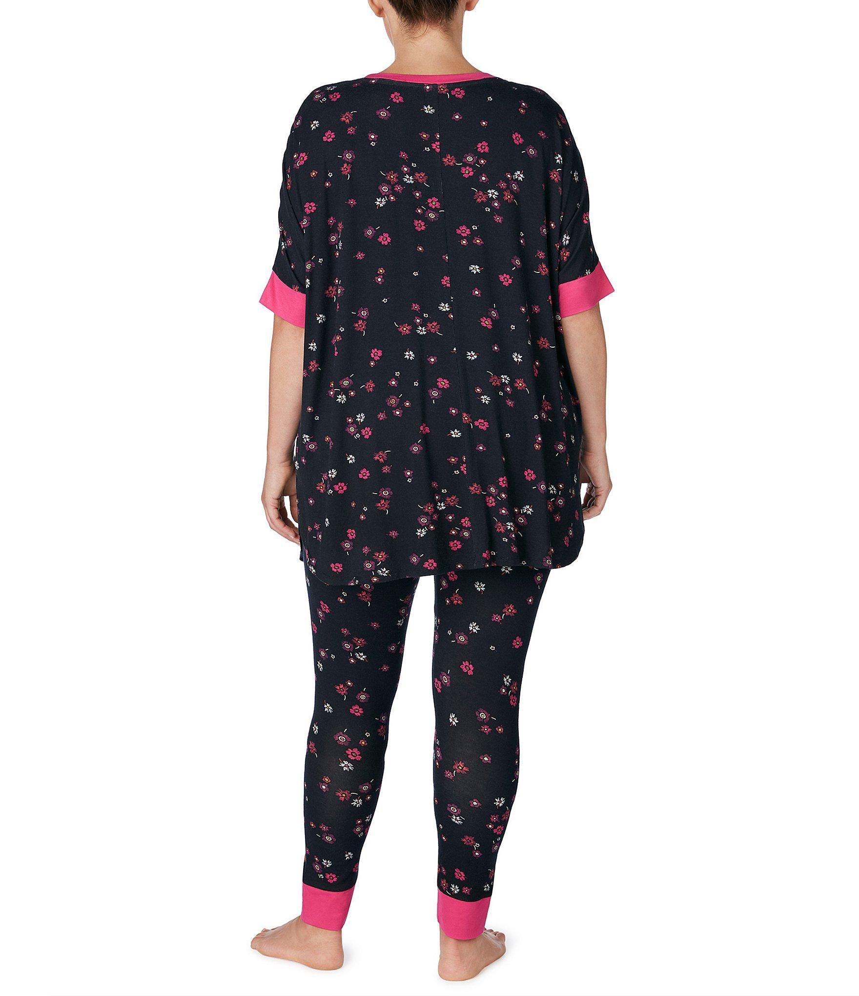 6906ec0651d Lyst - Kensie Plus Flower-printed Tee   Legging Jersey Knit Pajama ...