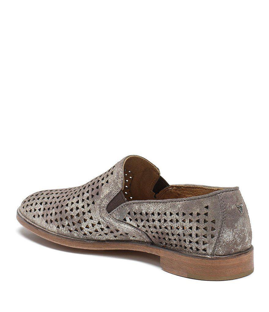Trask Ali Perf Metallic Suede Block Heel Loafers QifyYRD