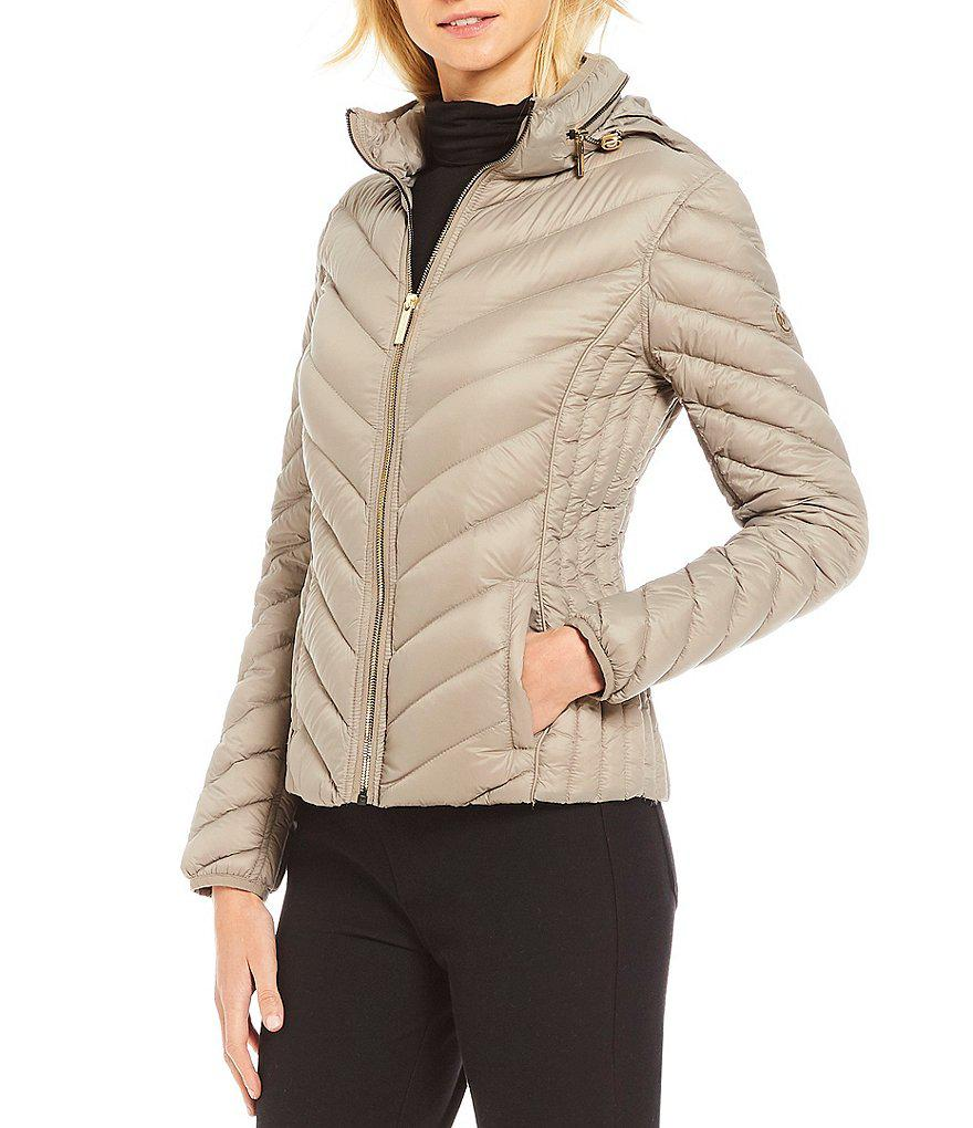 226af2ccf512 Lyst - MICHAEL Michael Kors Packable Chevron Zip Front Down Jacket