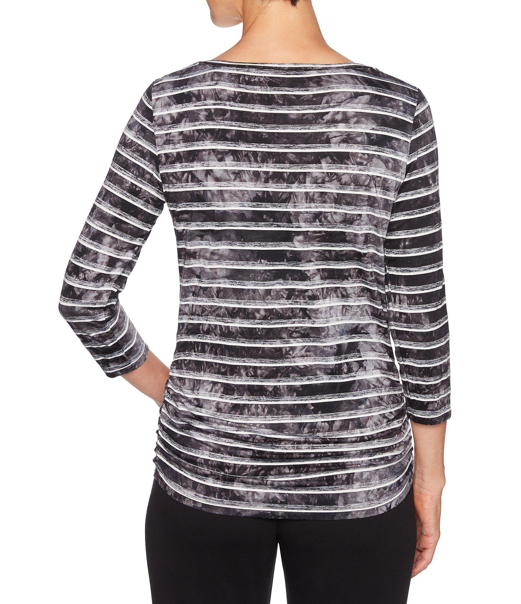 c9979c83cb2 Ruby Rd - Black Embellished Boat Neck Double Side Ruching Stripe Knit Top -  Lyst. View fullscreen