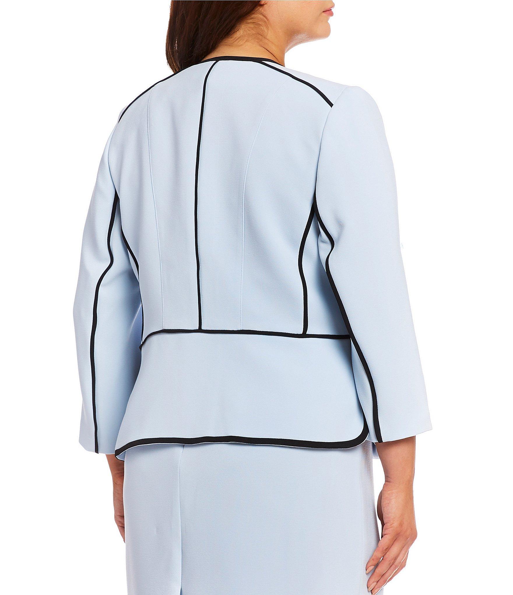 82cd65fa1aa Kasper - Blue Plus Size Contrast-piping Jacket - Lyst. View fullscreen