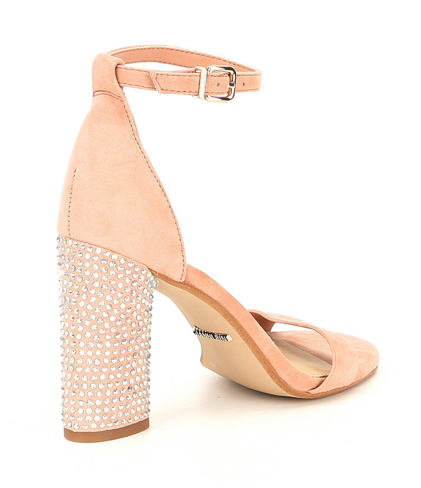 6f64810f742 Gianni Bini Carlosa Suede Ankle Strap And Jeweled Block Heel Sandals ...