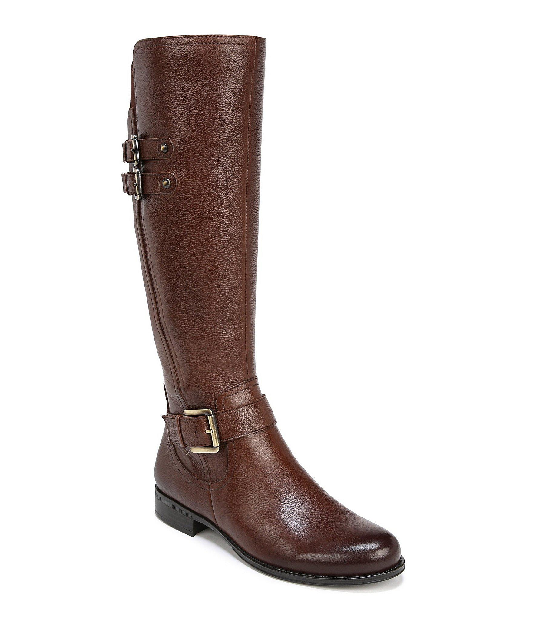 c9d7a681cb1b Lyst - Naturalizer Jessie Wide Calf Buckle Detail Riding Boots in Brown