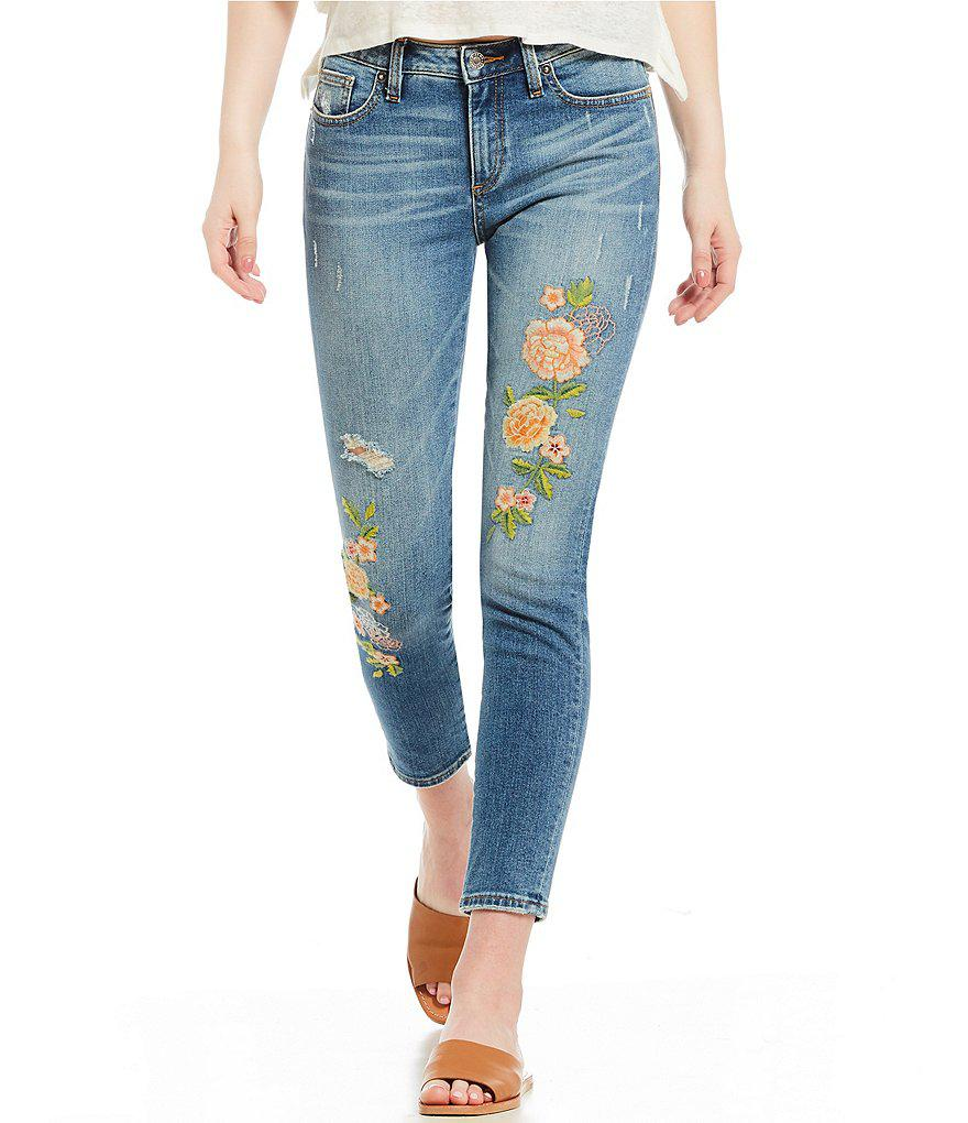d03388fcd8c Lyst - Miss Me Embroidery Ankle Skinny Jeans in Blue