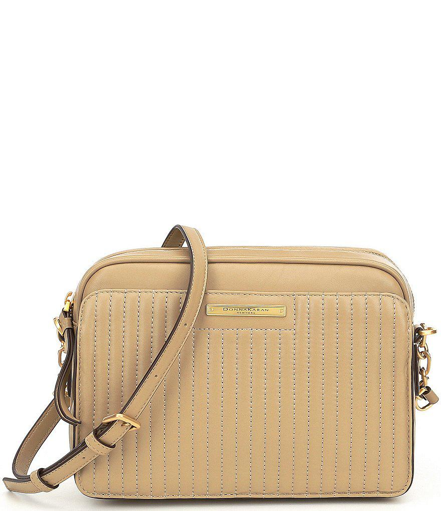 9e1509b54 Donna Karan Pinstripe Quilted Camera Bag in Natural - Lyst