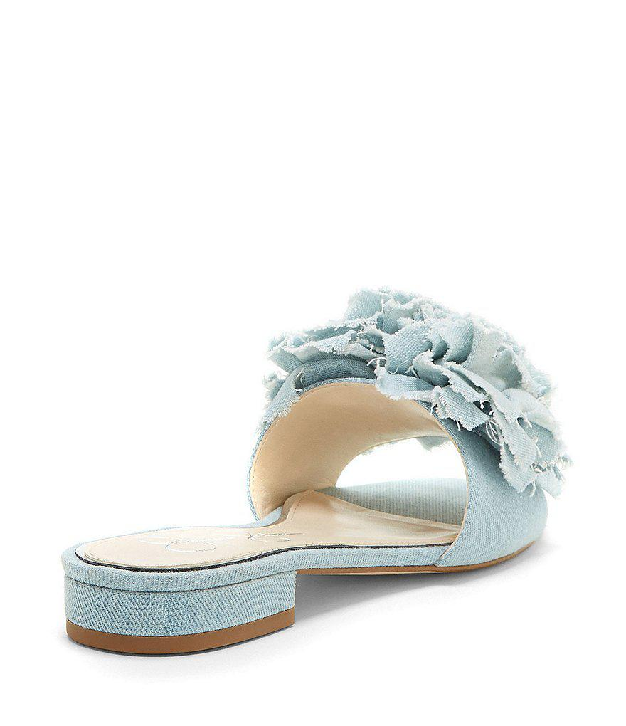 Jessica Simpson Caralin Floral Chiffon Slide Block Heel Sandals QL3cvnXyAM