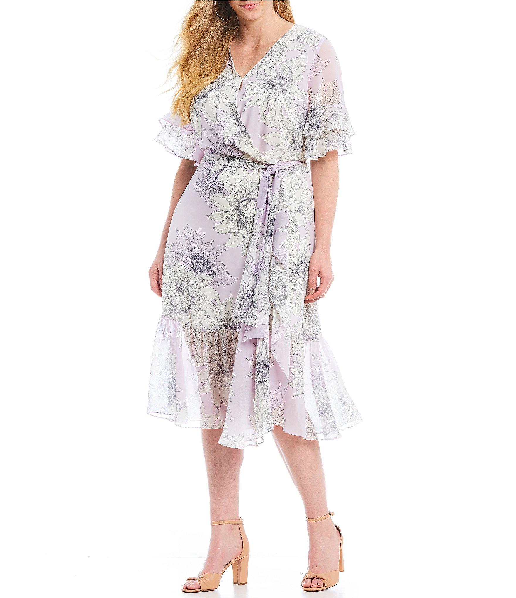 bd6aff66 Vince Camuto. Women's Plus Size Floral Print Tiered Ruffle Short Sleeve  Midi Length Wrap Dress