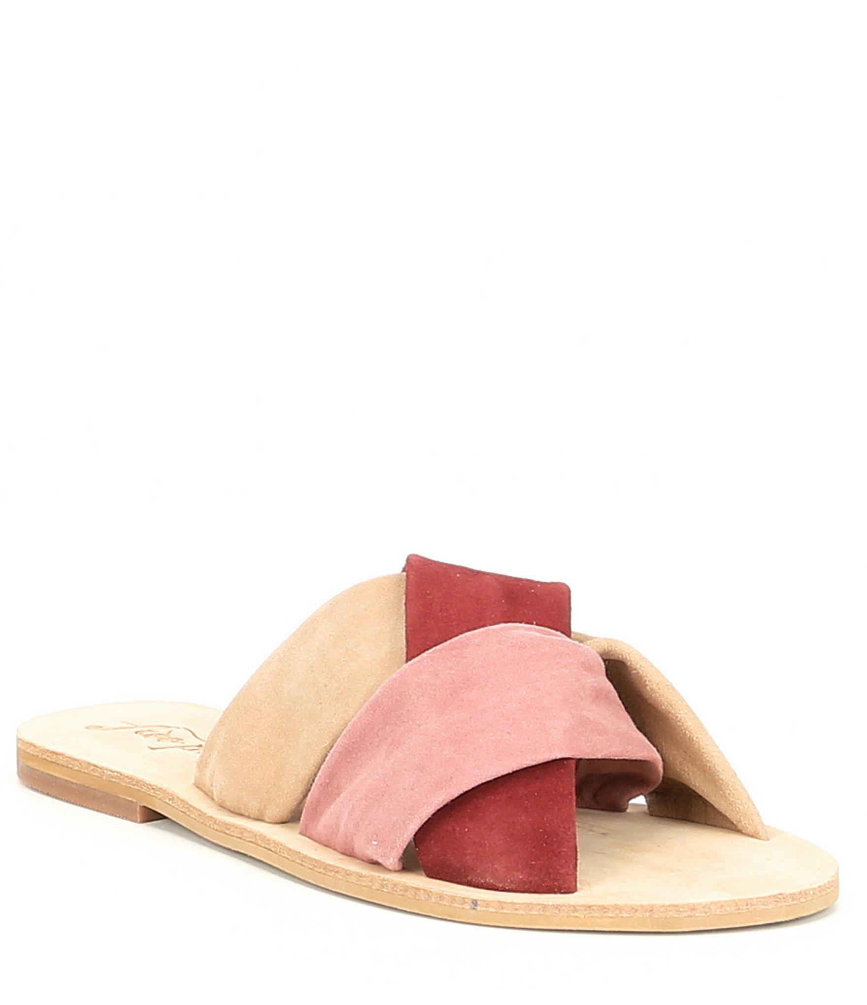 c20cde1e0982 Lyst - Free People Rio Vista Suede Slide Sandals in Pink