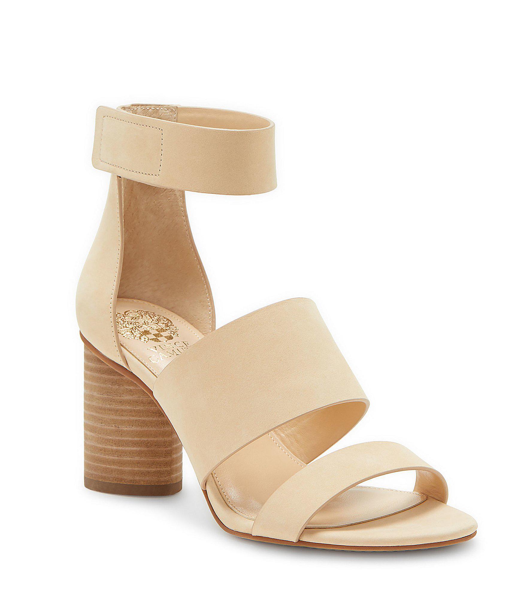 f594af9e195 Lyst - Vince Camuto Junette Nubuck Block Heel Sandals in Natural