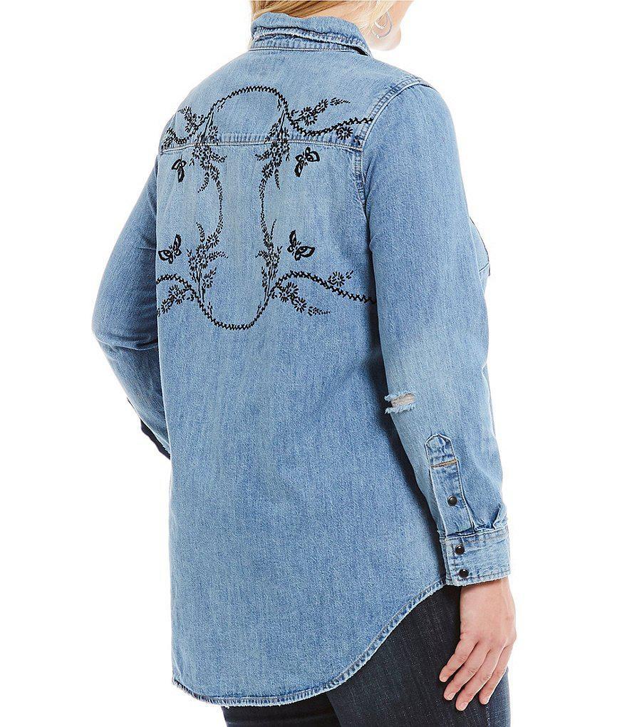 e806b1223d8 Gallery. Previously sold at  Dillard s · Women s Denim Tops Women s Bell Sleeved  Shirts ...
