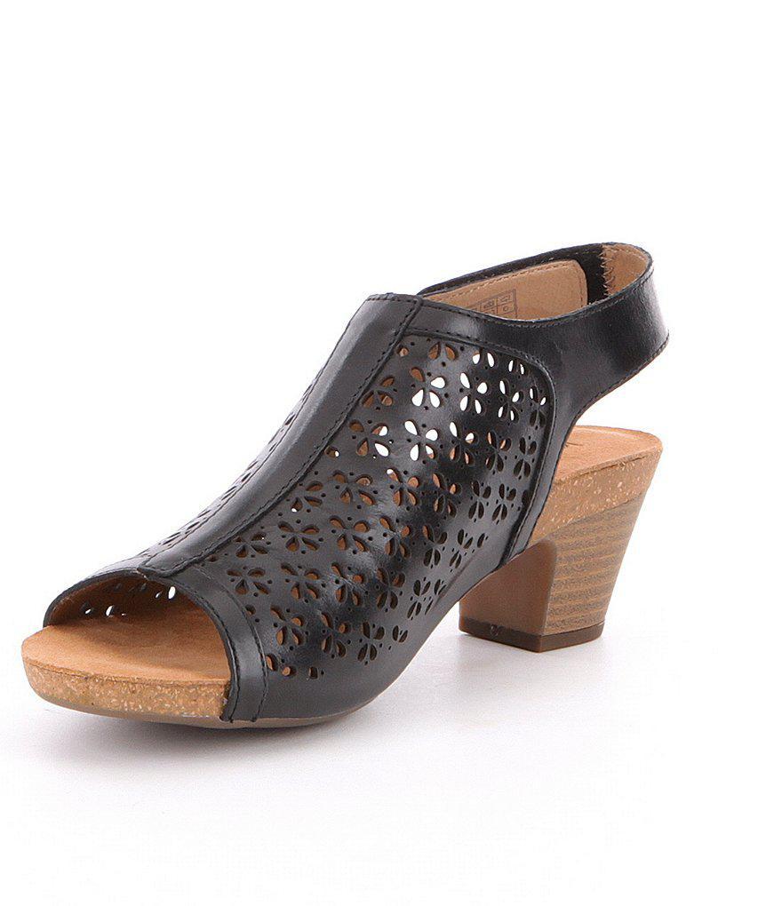 Josef Seibel Rose 27 Slingback Perforated Detail Block Heel Sandals ty2GPq