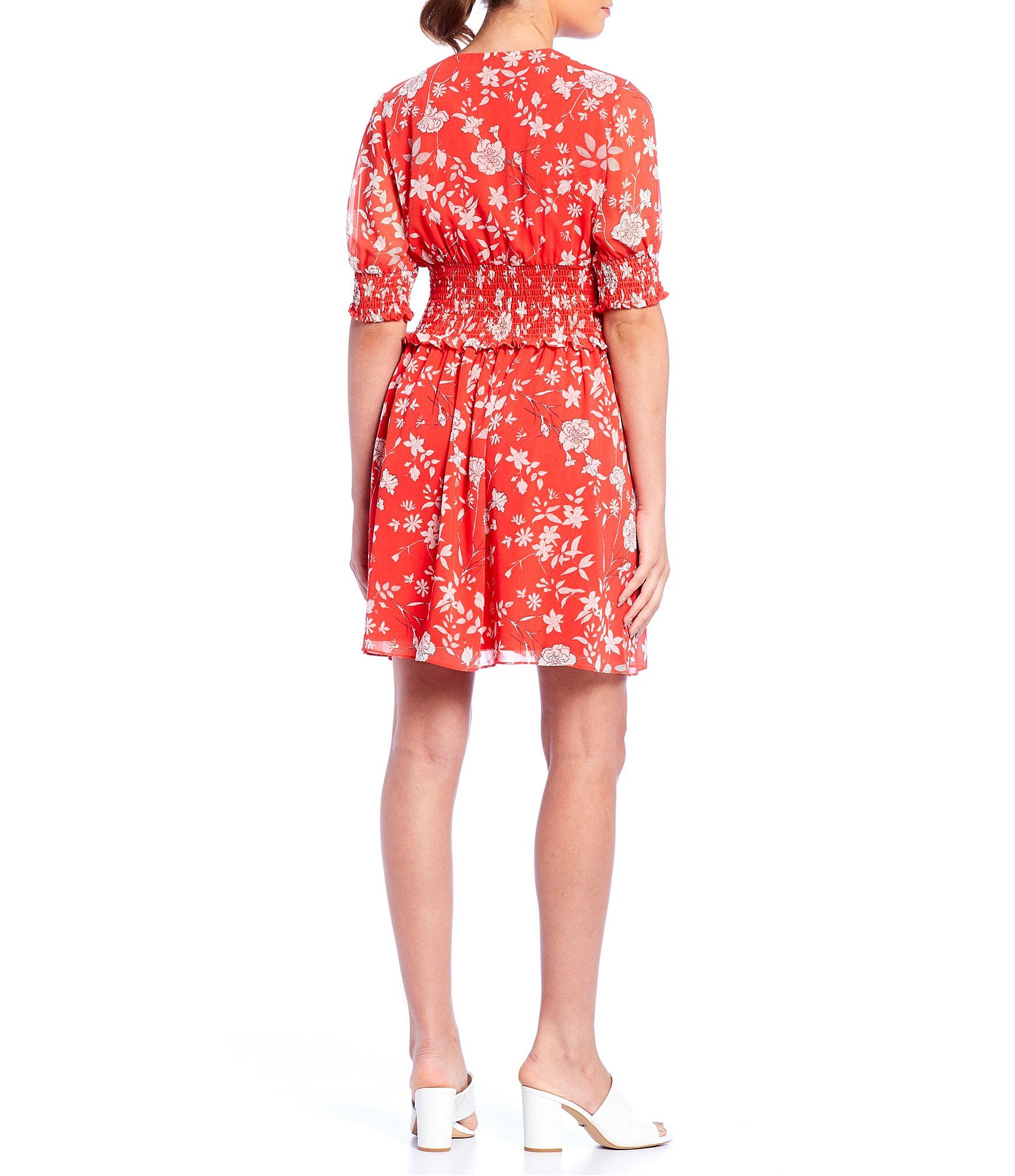 4f276e62577 Lyst - Gianni Bini Callie Floral Print Smocked Dress in Red