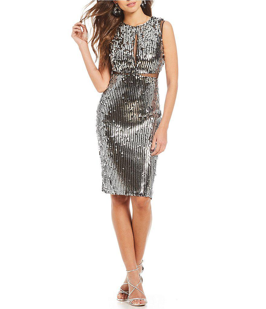 864280c4c9 Gianni Bini Ashlee Sequin Dress With Mesh Insets in Black - Lyst