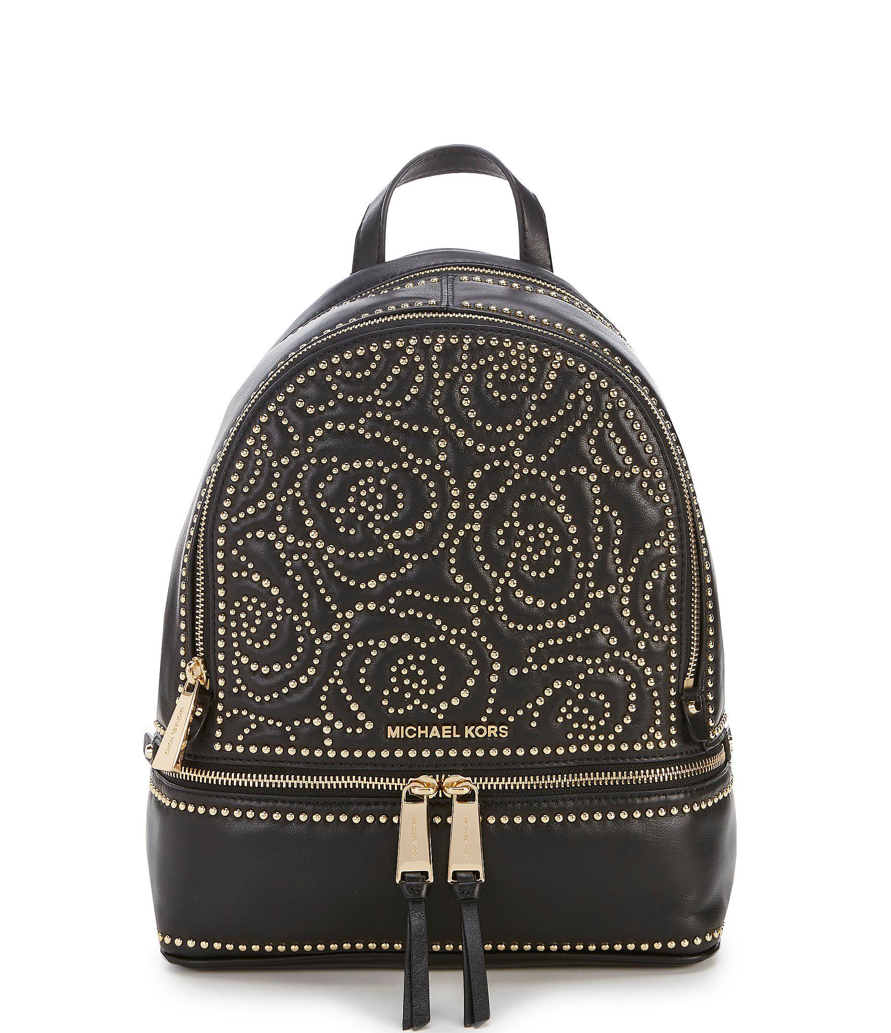 3c73645d6c09 Lyst - MICHAEL Michael Kors Medium Studded Rhea Backpack in Black ...