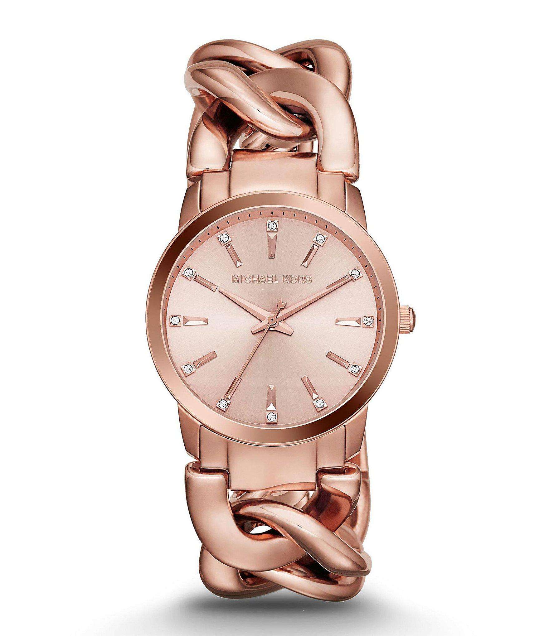 de1639e347765 Michael Kors Rose Gold Tone Elena Curb Chain Watch in Metallic - Lyst