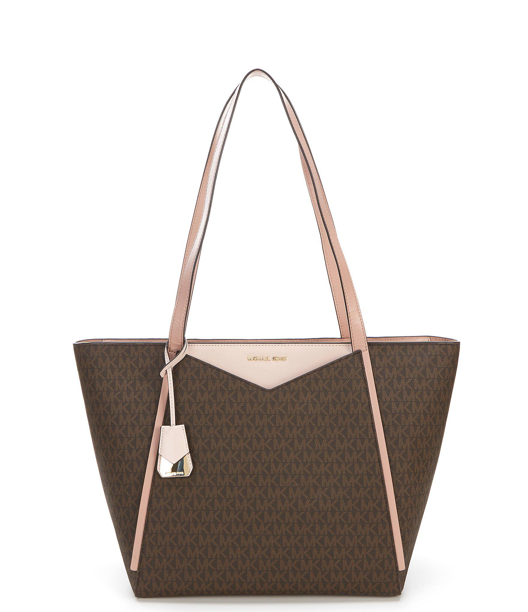 136e96e9da796 MICHAEL Michael Kors Whitney Large Top Zip Twill Tote Bag in Brown ...