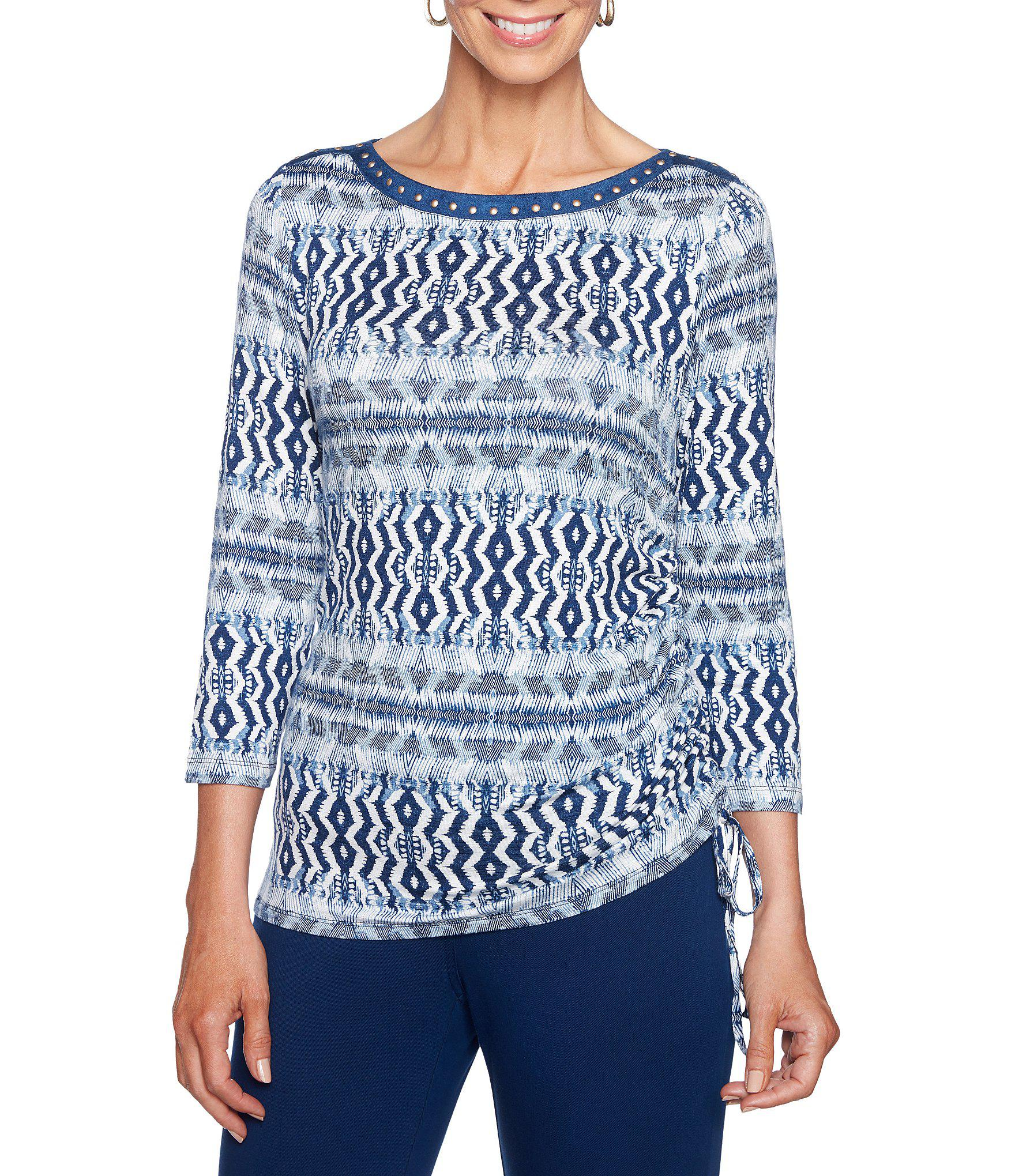 5dc4024e35d Ruby Rd. Women s Blue Embellished Ballet Neck Stripe Weave Print Side  Ruched Knit Top