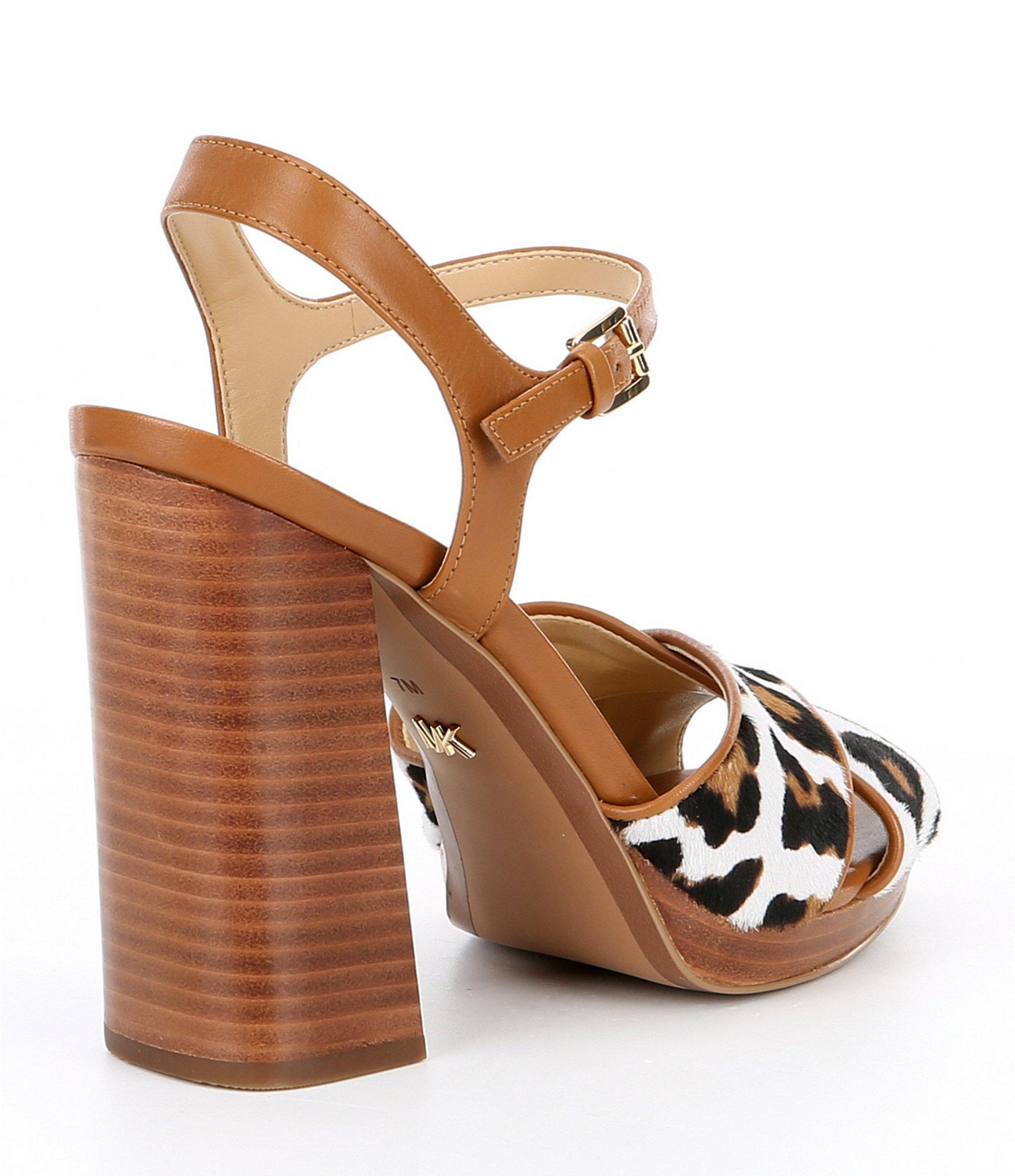 2b4691ba746d MICHAEL Michael Kors - Brown Alexia Leopard Print Platform Block Heel  Sandals - Lyst. View fullscreen
