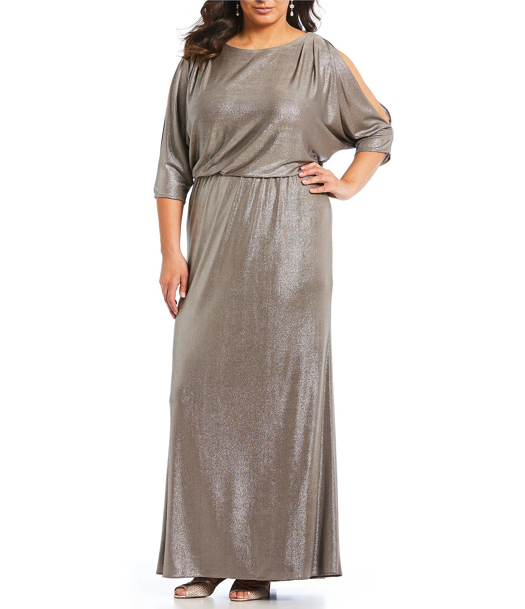 04aca7dd924 Lyst - Adrianna Papell Plus Size Foiled Jersey Blouson Gown in Metallic