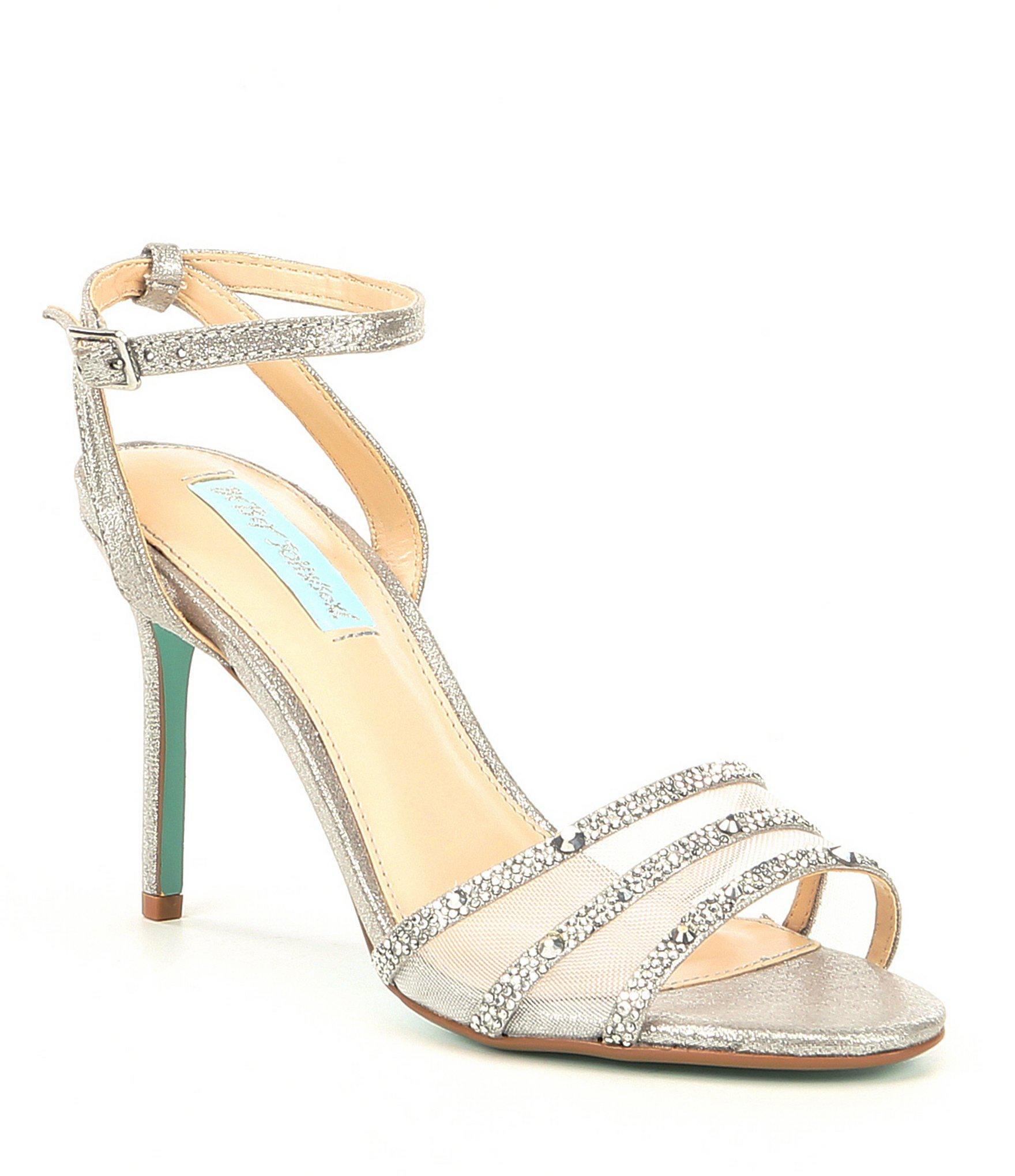7c271f564dd Lyst - Betsey Johnson Blue By Veda Jeweled Mesh Dress Sandals in ...