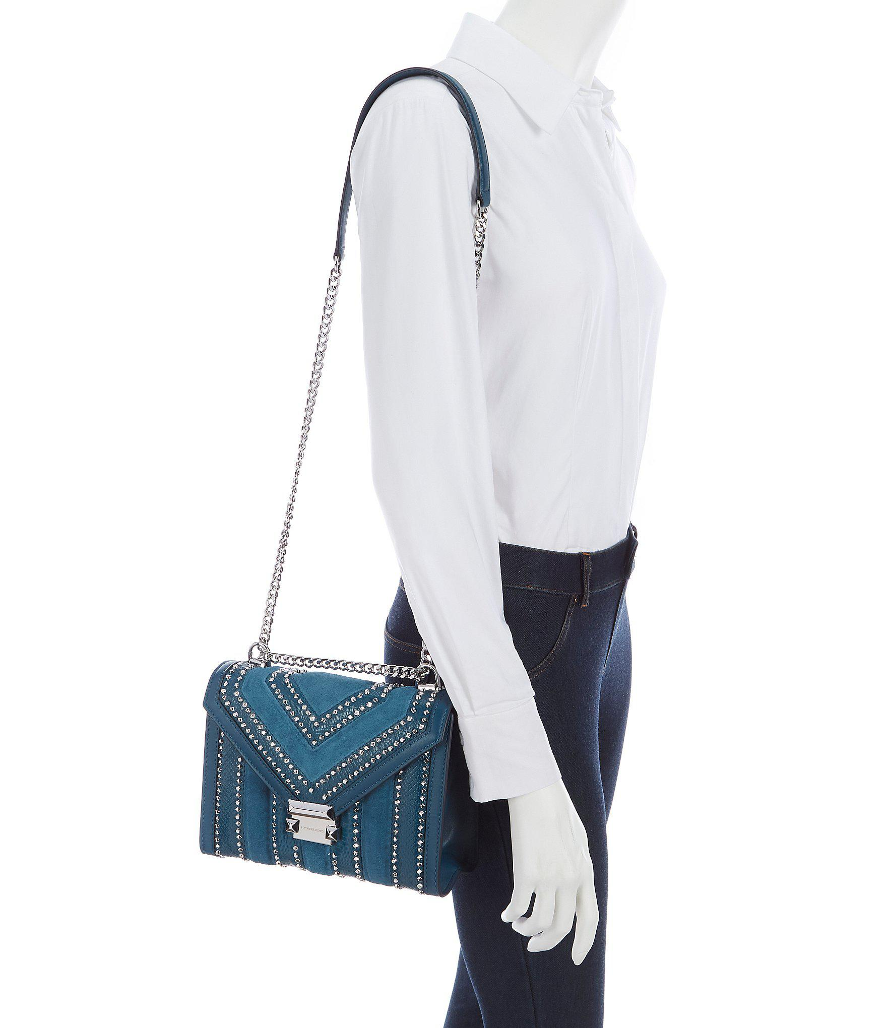 Lyst - MICHAEL Michael Kors Whitney Suede Studded Shoulder Bag in Blue 180e8e9360918