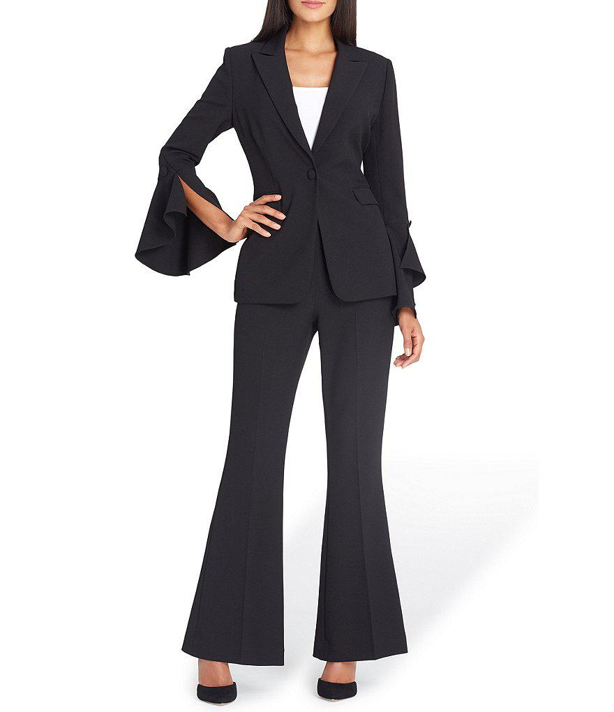 0b57dd06b7b Tahari Peak-lapel Bell-sleeve Pant Suit in Black - Lyst