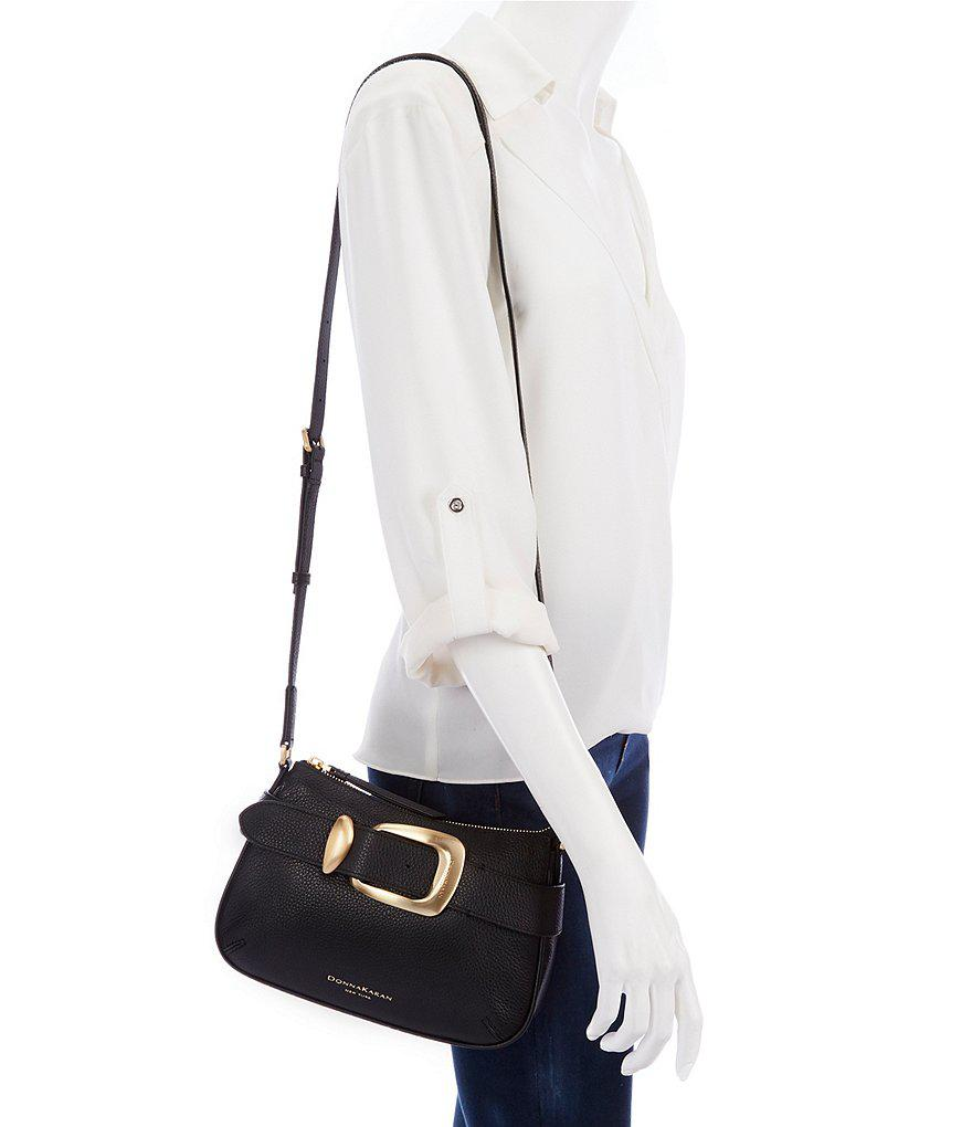 8a5cb73b54a8 Donna Karan Pebble Buckle Cross-body Bag in Black - Lyst