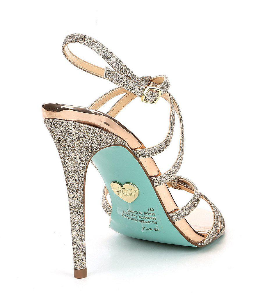 Blue by Betsey Johnson Myla Metallic Glitter Strappy Dress Sandals VQREOWiR4